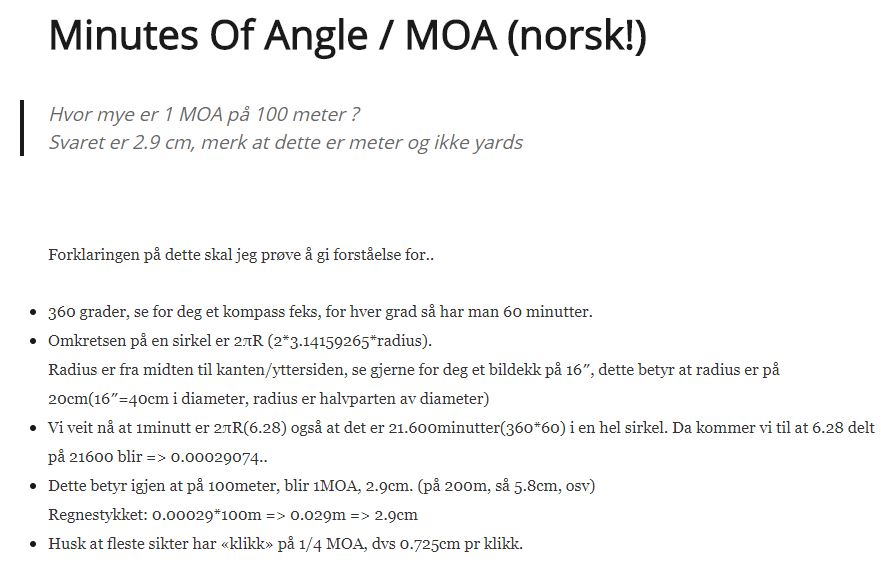 Minutes Of Angle / MOA (norsk!)
