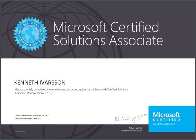 2017 nov; Microsoft® Certified Solutions Associate: Windows Server 2016